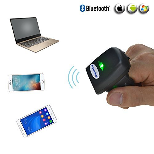 1D Mini Ring Scanner FS03, 2K FedEx Codes Memory, Bluetooth Wearable Barcode Scanner, Rugged Metal Turntable Compatible iOS Android Mac - only 50g
