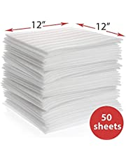 "enKo Foam Wrap Sheets, 12"" x 12"" (50-Pack) Foam Wrap Cushioning for Packing Moving Storing Shipping Supplies to Protect Glasses, China, Dishes"