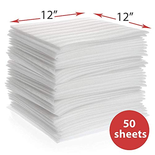 "Foam Wrap Sheets, enKo 12"" x 12"" (50-Pack) Foam Wrap Cushioning for Packing Moving Storing Shipping Supplies to Protect Glasses, China, Dishes"