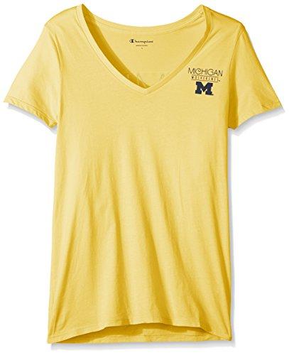 Champion NCAA Michigan Wolverines Adult Women NCAA Women's University V-Neck Front/Back,Medium,Mimosa