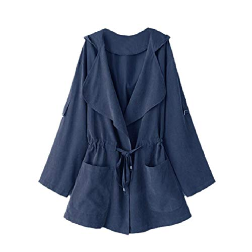 Womens Anorak Trench Fold Outwear Jackets Blue RkBaoye Drawstring Lapel Collar Hd4UxFUgqw