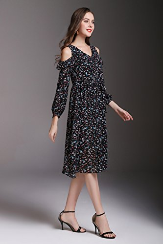 Women`s Printed V Neck cotyledon Off Chiffon Black Sleeve Shoulder Long Lace Dresses Dress qHwaxUSd