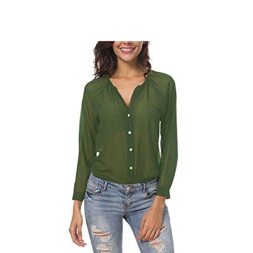 Amazon.com: Blusa de gasa para mujer, blusa transparente ...