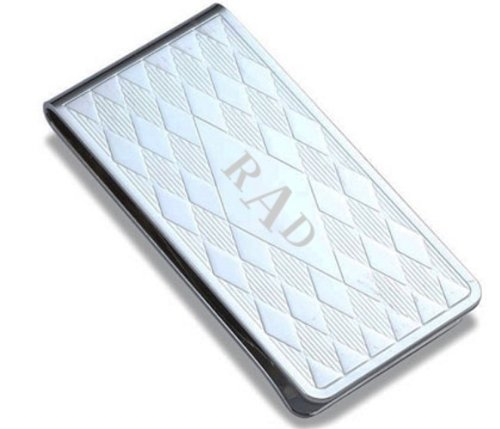 Quality Diamond Pattern Metal Money Clip - Free Engraving
