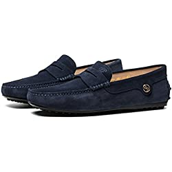 OPP Men's Casual Leather Driving Loafer Shoes(Deep Blue,7.5 D(M) US)
