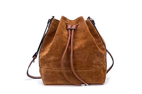 Suede Leather Women (GLITZALL Simple Pure Color Bucket Bag for Women Classic Suede Drawstring bag Brown)