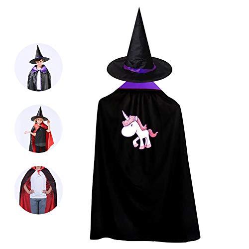 69PF-1 Halloween Cape Matching Witch Hat Rainbow Unicorn Wizard Cloak Masquerade Cosplay Custume Robe Kids/Boy/Girl Gift Purple -