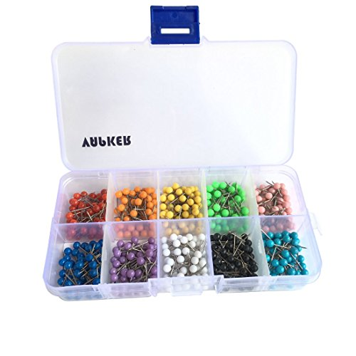 nch Round Head Map Tacks Pins Stainless Point with 10 Assorted Colors Map Tacks(Each Color 50 Pcs) ()