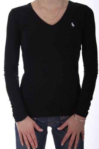 Ralph Lauren Sport Women Lightweight Pony Logo V-neck Long Sleeve T-shirt (L, Black)