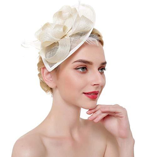 Fashion Elastic Headbands, Bridal Party Top Hat Dinner Women Fashion Mesh Ribbon Feather Headband Cocktail Hat Headwear Beige]()