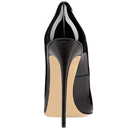 Women Stiletto Patent Toe Black 15 FSJ High Leather Pumps Size US Heels Formal Pointed Shoes 4 ESqxXaXFw