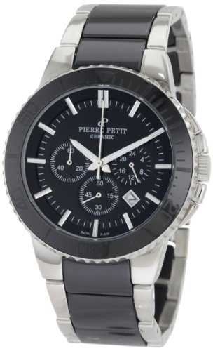 (Pierre Petit Men's P-809A Serie Colmar Black Ceramic and Stainless-Steel Bracelet Chrono Watch)