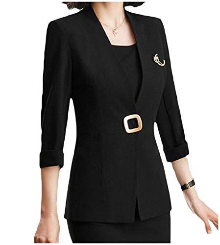 Business Lunga Giubotto V Ovest Tailleur Giovane Moda Manica neck Outerwear Skinny Autunno Nero Pulsante Donna Monocromo 1P7w7qnX4