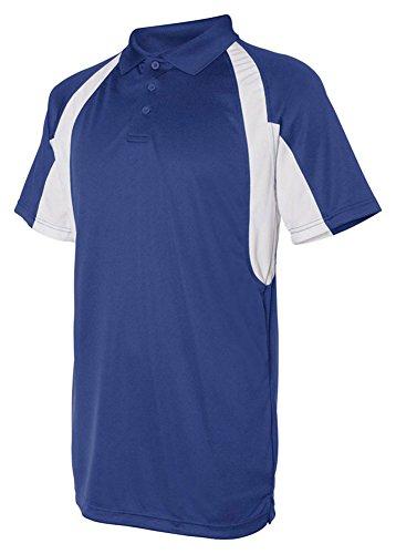 Badger Sportswear B-Dry Short-Sleeve Hook Polo Shirt, Royal/Wht, Small