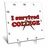 3dRose Student Humor - I Survived College Red - 6x6 Desk Clock (dc_274505_1)