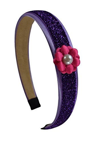Purple Glitter Headband with Pink Daisy Flower for Preschoolers and Little Girls By Funny Girl Designs (Pink Glitter Flower)