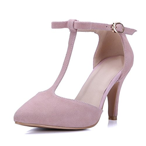 AllhqFashion Women's Imitated Suede Solid Buckle Pointed Closed Toe High-Heels Sandals Pink