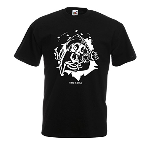 lepni.me T Shirts for Men The Skull - Ticking Bomb - Time is Gold Quotes (Medium Black Multi Color)