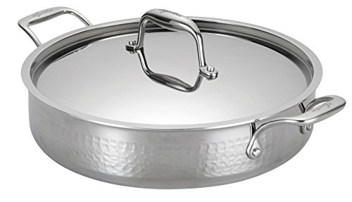 - Lagostina Q5534764 Martellata Tri-ply Hammered Stainless Steel Dishwasher Safe Oven Safe Stockpot / Casserolle Cookware, 5-Quart, Silver