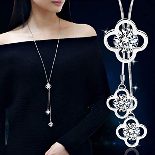 Dolland Women's Crystal Four-Leaf Clover Jewelry Tassel Pendant Long Chain Sweater Necklace
