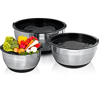 Premium Stainless Steel Mixing Bowls with Lids by Fox Point. Mixing Bowl Set is Stackable with Non-Slip Silicon Bottom. 3 Mixing Bowl Set contains Air Tight Lids and Dishwasher Safe