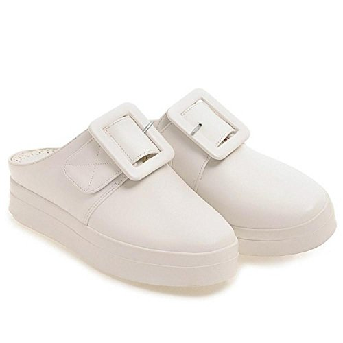 Women Leisure Toe Shoes Closed Big Buckle Mules White With Flatform COOLCEPT SdCqd