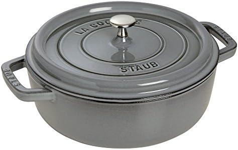 Staub 1112818 Shallow Wide Round Cocotte, Graphite Grey