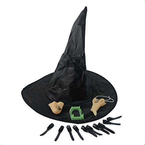 Taiguang Halloween Witch Hat Faux Denture Nail Tips Nose Chin Set Cosplay -