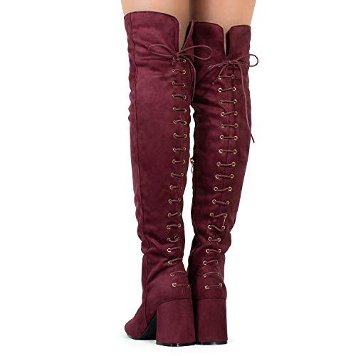 Over Side The Women's Knee Lace Zipper Up RF Vegan Heel Burgundy Suede Toe Boots Corset Almond Chunky S887Oq6g