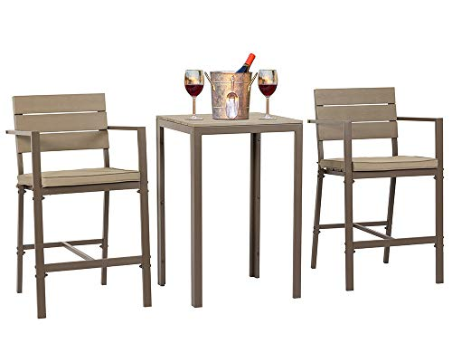 Suncrown Outdoor Steel Bar Height Bistro Set (3-Piece Set) All Weather Steel Powder Coated Frame with Neutral Beige Water-Resistant Cushions Coffee Table | Patio, Backyard, Pool Review