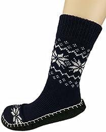 Best Sale Mens Autumn Winter Indoor Non skid Snowflake Floor Socks Stocking Shoes Xh1022 navy Blue 6 9 Dm Us