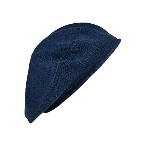 Landana Headscarves Melange Beret for Women 100% Cotton Solid - Blue