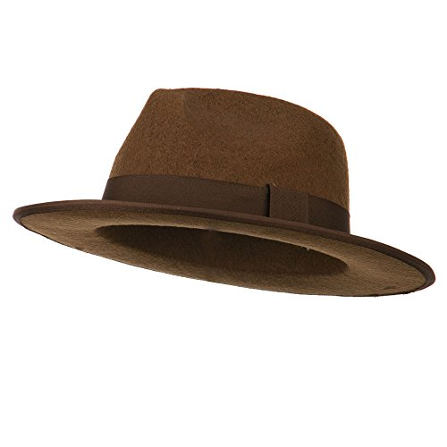 [Stiff Felt Gangster Hat - Brown OSFM] (Gangster Dresses)