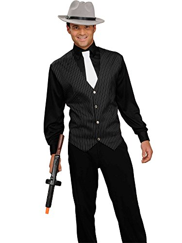 Men's Gangster Shirt, Vest And Tie, Black/White, One Size Costume]()