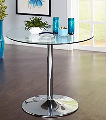 Target Marketing System 89017CLR Pisa Modern Retro Round Dining Table, 35.4 W, Clear