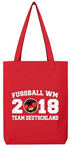 Germany Fußball WM Fanfest Gruppen Premium Bio Baumwoll Tote Bag Jutebeutel Stanley Stella Team Deutschland Red