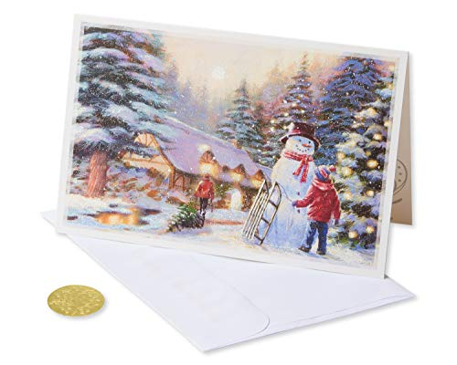 American Greetings 6027148 Premium City Kids and Snowman Christmas Boxed Cards and Gold Foil-Lined White Envelopes, 14-Count,