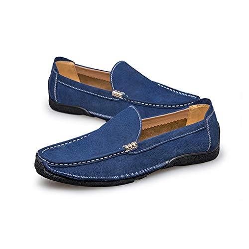 Mocasines de conducción de Guisantes Azul de Zapatos los Zapatos de Cuero Azul Gris Deslizadores la Perezosos Manera de Hombres Libre Aire los y Forrados Zapatos Negro Casuales al UIa7ax