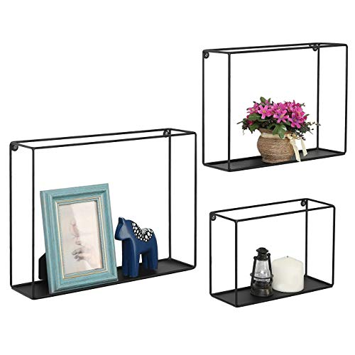 Modern Metal Wire Frame Shadow Boxes, Decorative Wire Cube Floating Shelves, Set of 3, Black (Renewed) (Metal Shadow Box)