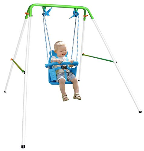 Sportspower My First Toddler Swing - Heavy-Duty Baby Indoor/Outdoor Swing Set with Safety Harness (Renewed)