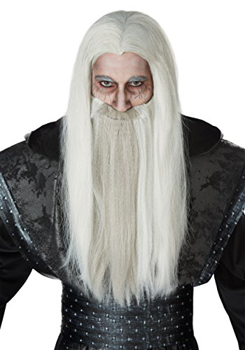 California Costumes Men's Dark Wizard and Beard Adult Wig, White/Gray, One Size -