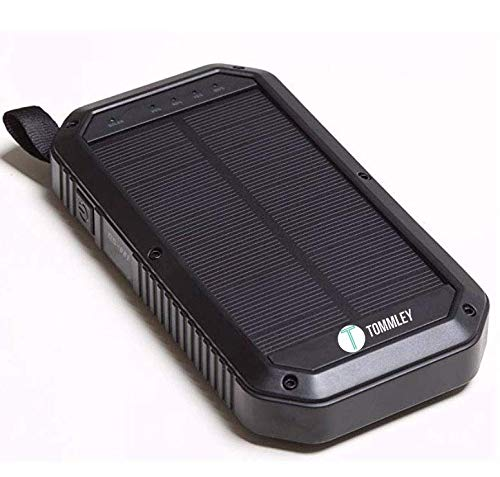 Solar Charger, Tommley 8000mAh, 3 Port USB 21 LED Lights Waterproof Portable Power Bank Phone Charger(Black)