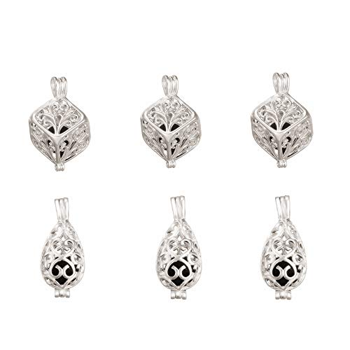 lisafinding 10pcs Mix Style Brass Silver Plated Cube Waterdrop Filigree Locket Essential Oil Aromatherapy Diffuser Pendant Charm