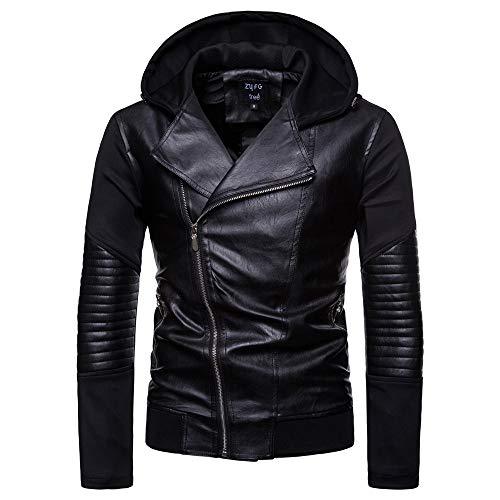 VEZAD Men fold Leather Autumn&Winter Jacket Biker Motorcycle Zipper Outwear Warm Coat - Faux Leather Car Coat