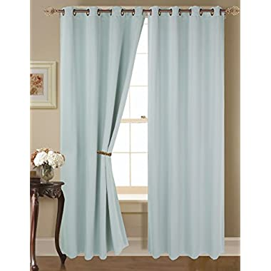 2-piece 3 Layer Condensed Thermal Solid 100% Blackout Panel Grommet Curtain 113 w X 84 l Energy Saving (Light Blue)