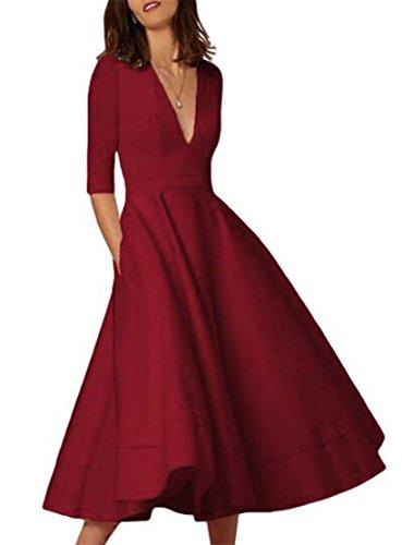 Color Sleeve Half Dresses Deep Women Elegant Maxi V Swing Jaycargogo Neck Red Solid Wine aXY8xq