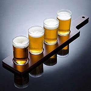 Brewpub Beer Tasting Flight Set with Paddle and 4 Mini Glasses (Gift Box)