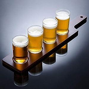 Brewpub Beer Tasting Flight Set with Paddle and 4 Mini Glasses (Gift Box)