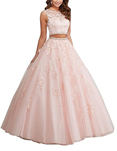QiJunGe 2018 Two Piece Lace Appliqued Prom Quinceanera Dress Party Evening Gown Pink US 22W