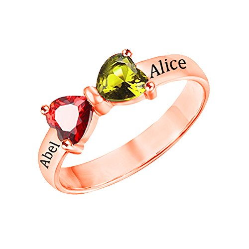Shiny Alice Personalized Bow Engagement Promise Ring for Her with 2 Simulated Birthstone Rings 2 Names for Couples(Rose-Gold 7.5)